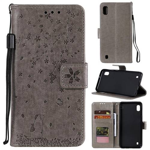 Embossing Cherry Blossom Cat Leather Wallet Case for Samsung Galaxy M10 - Gray