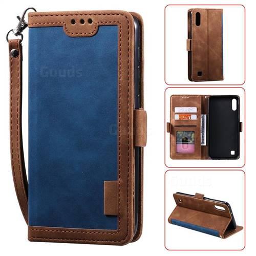 Luxury Retro Stitching Leather Wallet Phone Case for Samsung Galaxy M10 - Dark Blue