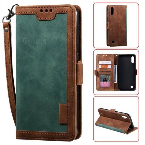 Luxury Retro Stitching Leather Wallet Phone Case for Samsung Galaxy M10 - Dark Green