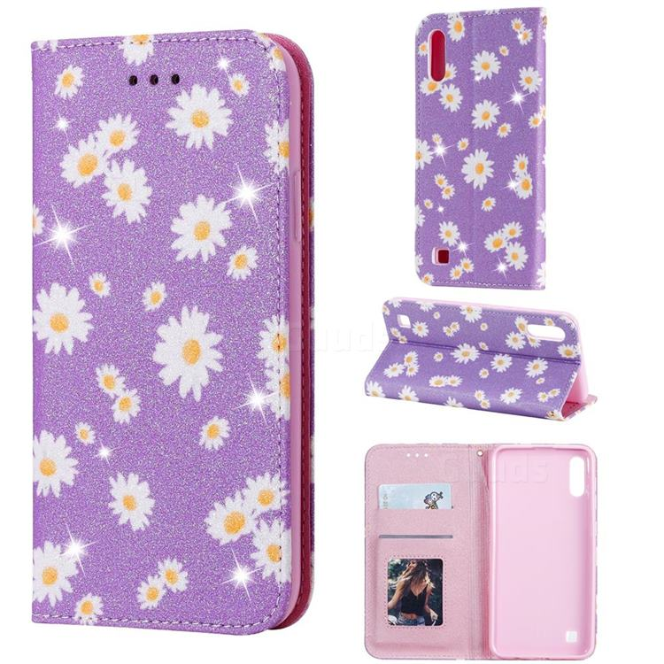 Ultra Slim Daisy Sparkle Glitter Powder Magnetic Leather Wallet Case for Samsung Galaxy M10 - Purple
