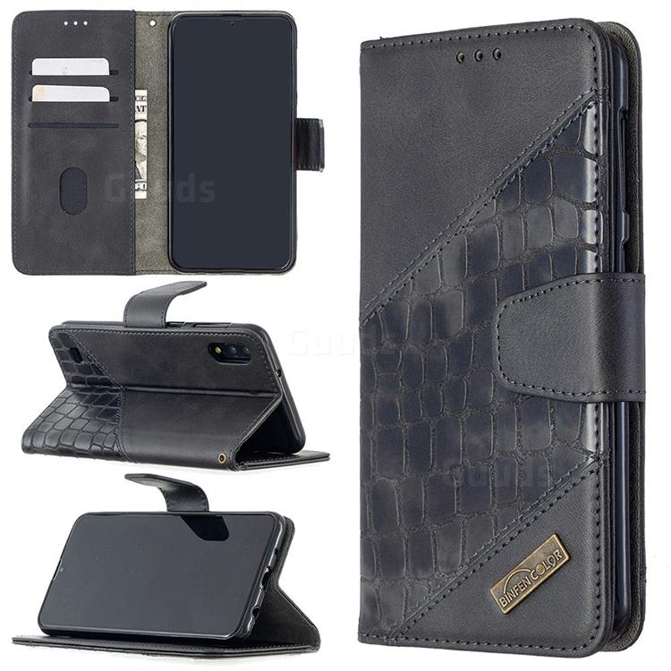 BinfenColor BF04 Color Block Stitching Crocodile Leather Case Cover for Samsung Galaxy M10 - Black
