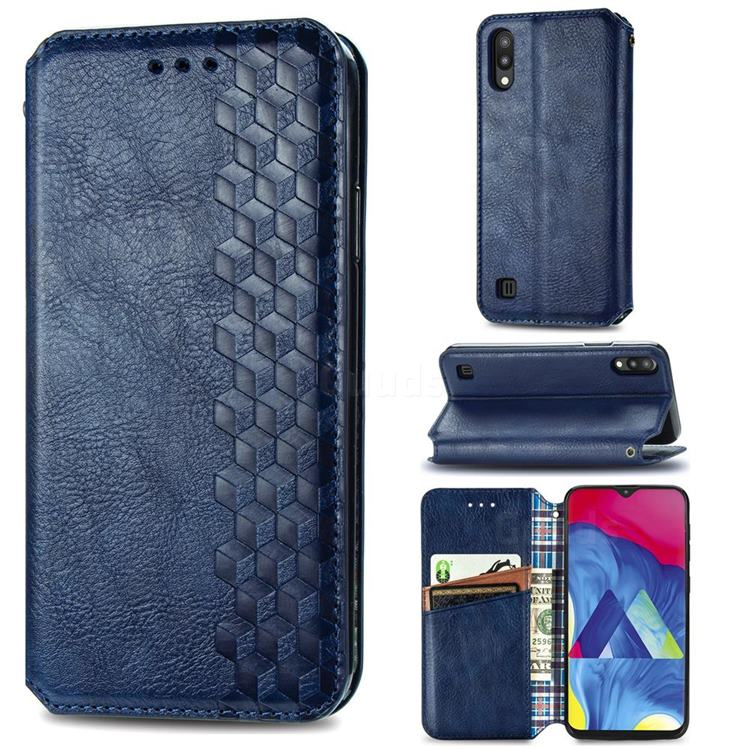 Ultra Slim Fashion Business Card Magnetic Automatic Suction Leather Flip Cover for Samsung Galaxy M10 - Dark Blue