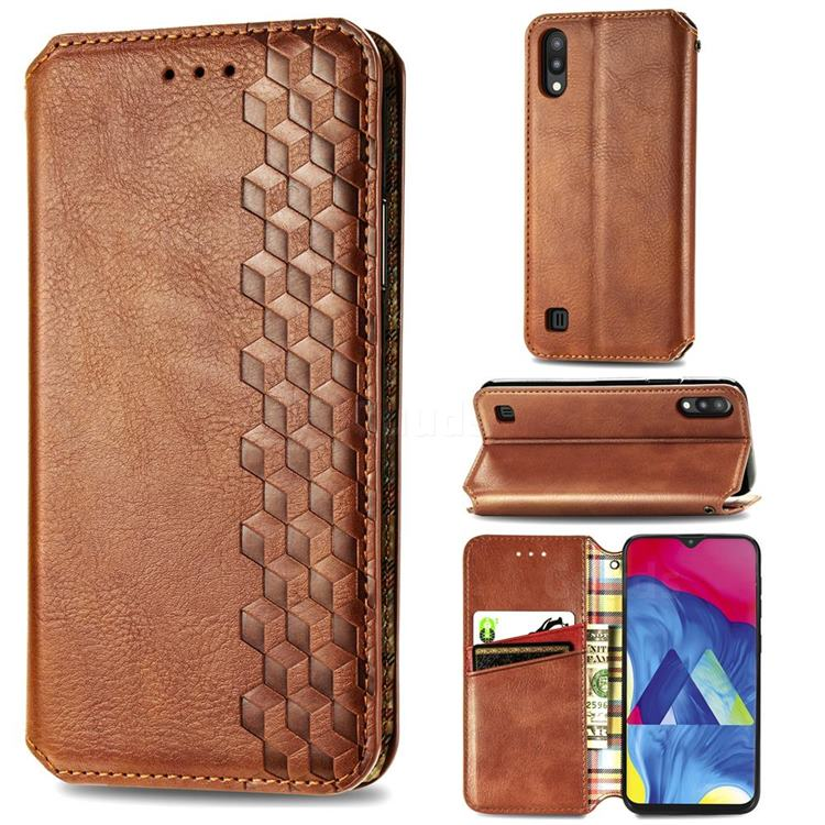 Ultra Slim Fashion Business Card Magnetic Automatic Suction Leather Flip Cover for Samsung Galaxy M10 - Brown