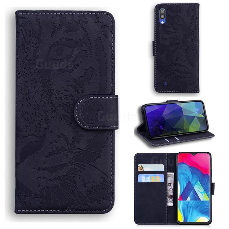 Intricate Embossing Tiger Face Leather Wallet Case for Samsung Galaxy M10 - Black
