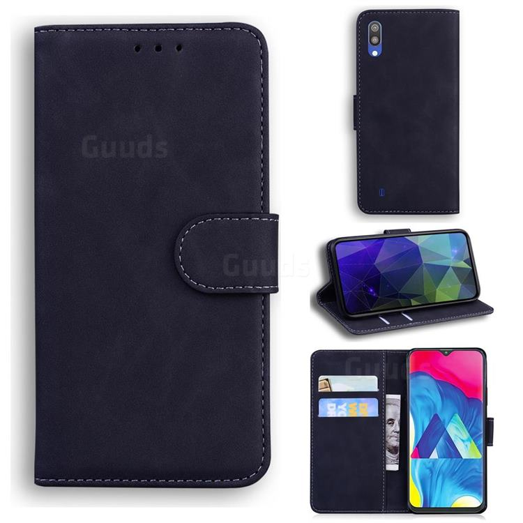 Retro Classic Skin Feel Leather Wallet Phone Case for Samsung Galaxy M10 - Black