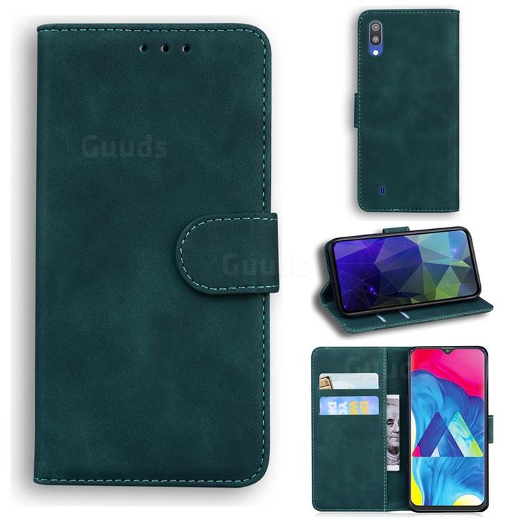 Retro Classic Skin Feel Leather Wallet Phone Case for Samsung Galaxy M10 - Green