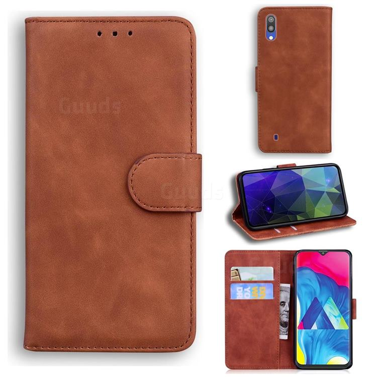 Retro Classic Skin Feel Leather Wallet Phone Case for Samsung Galaxy M10 - Brown