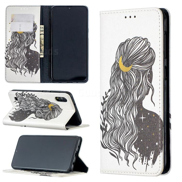 Girl with Long Hair Slim Magnetic Attraction Wallet Flip Cover for Samsung Galaxy M10