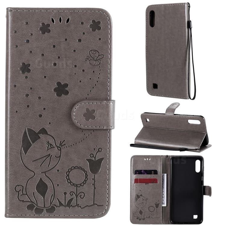 Embossing Bee and Cat Leather Wallet Case for Samsung Galaxy M10 - Gray