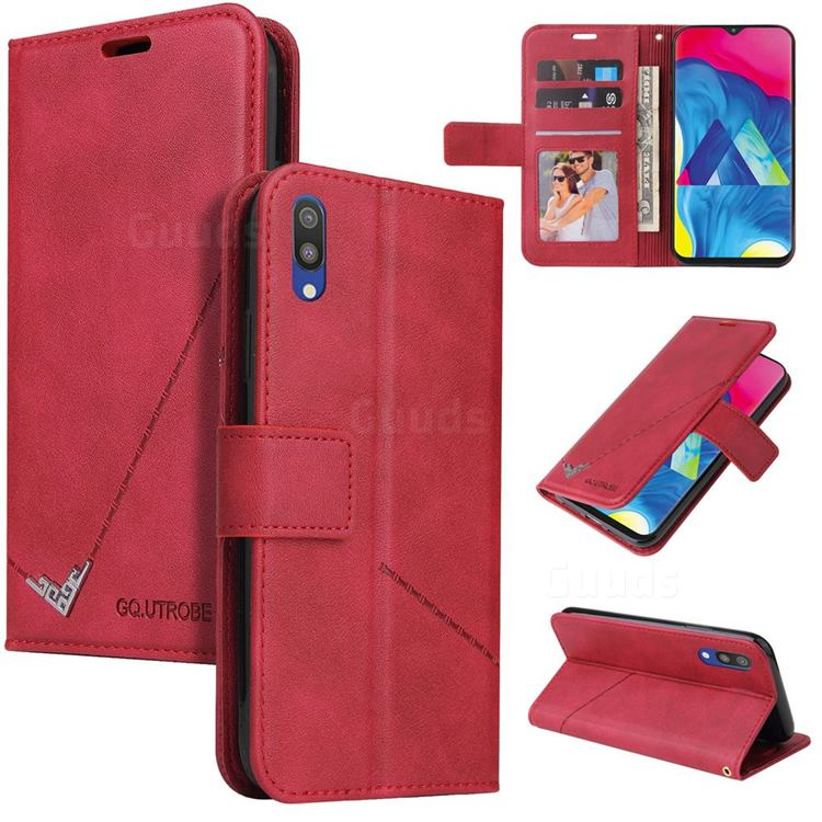 GQ.UTROBE Right Angle Silver Pendant Leather Wallet Phone Case for Samsung Galaxy M10 - Red