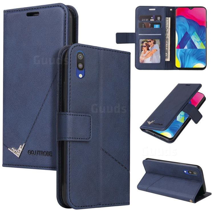 GQ.UTROBE Right Angle Silver Pendant Leather Wallet Phone Case for Samsung Galaxy M10 - Blue