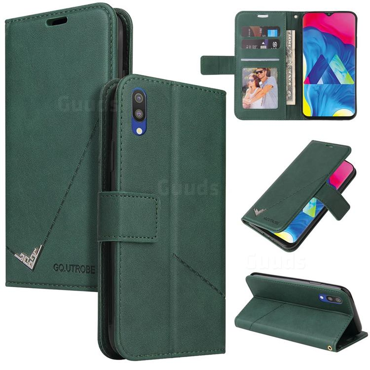 GQ.UTROBE Right Angle Silver Pendant Leather Wallet Phone Case for Samsung Galaxy M10 - Green