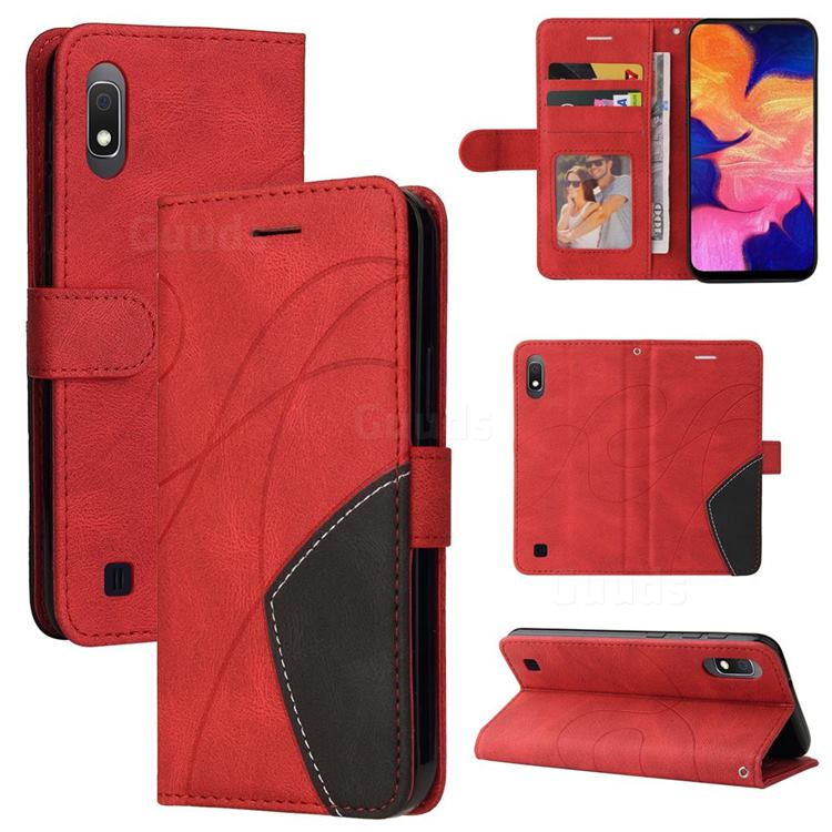 Luxury Two-color Stitching Leather Wallet Case Cover for Samsung Galaxy M10 - Red