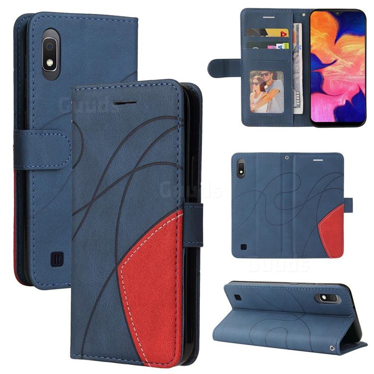 Luxury Two-color Stitching Leather Wallet Case Cover for Samsung Galaxy M10 - Blue