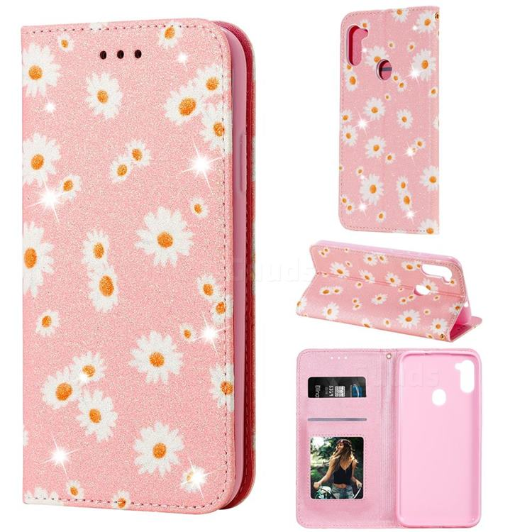 Ultra Slim Daisy Sparkle Glitter Powder Magnetic Leather Wallet Case for Samsung Galaxy M11 - Pink