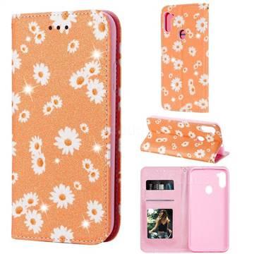 Ultra Slim Daisy Sparkle Glitter Powder Magnetic Leather Wallet Case for Samsung Galaxy M11 - Orange