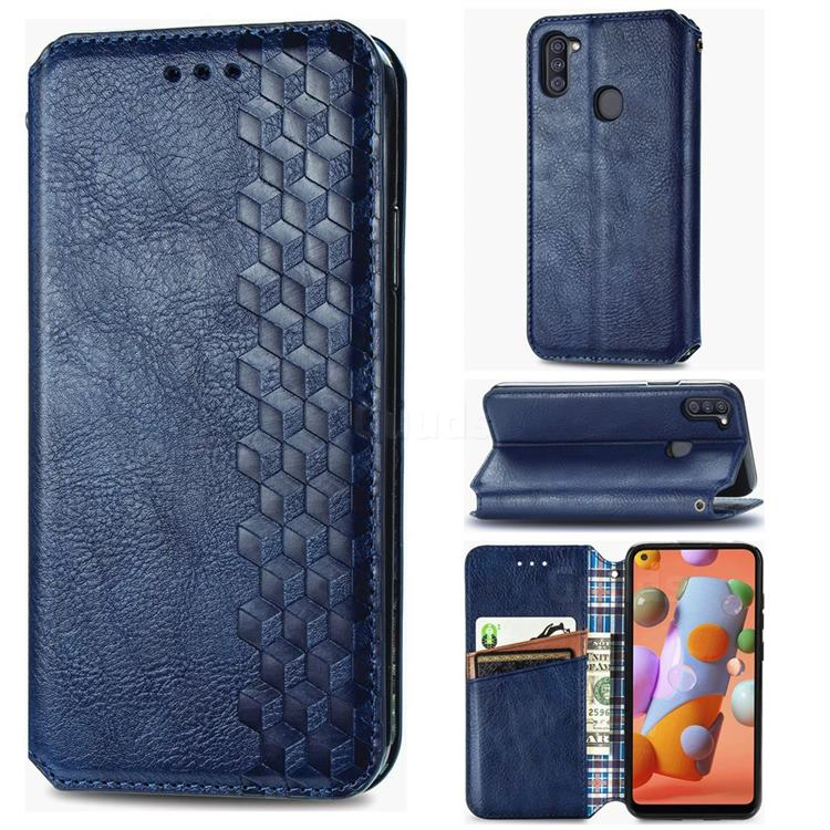Ultra Slim Fashion Business Card Magnetic Automatic Suction Leather Flip Cover for Samsung Galaxy M11 - Dark Blue