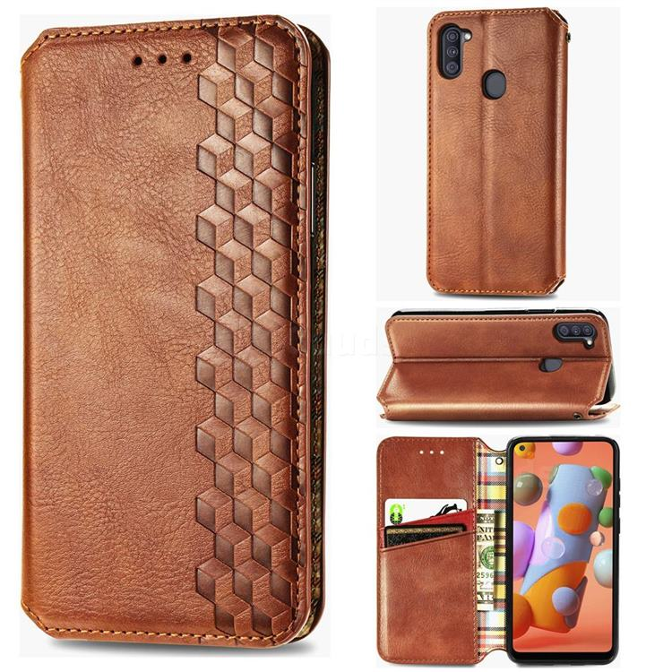 Ultra Slim Fashion Business Card Magnetic Automatic Suction Leather Flip Cover for Samsung Galaxy M11 - Brown