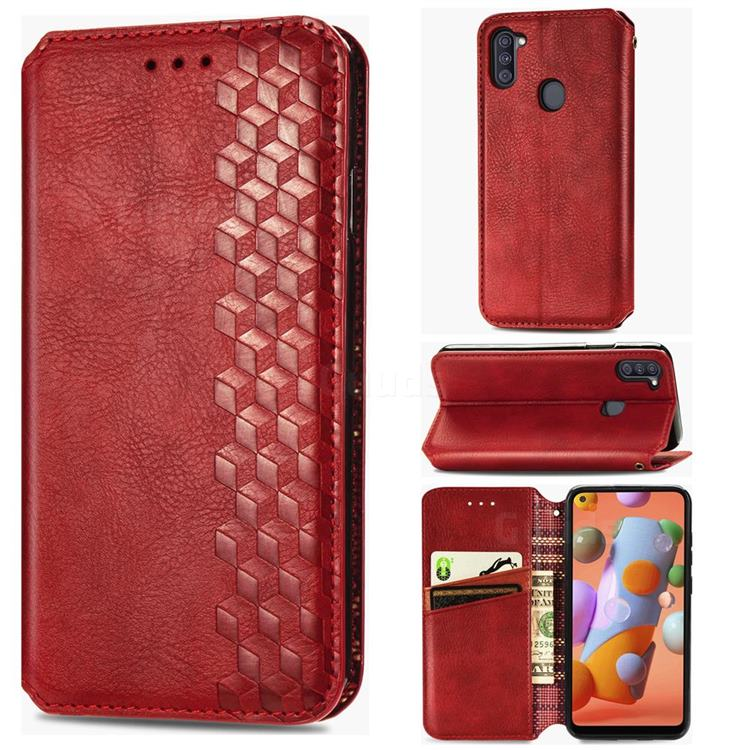 Ultra Slim Fashion Business Card Magnetic Automatic Suction Leather Flip Cover for Samsung Galaxy M11 - Red