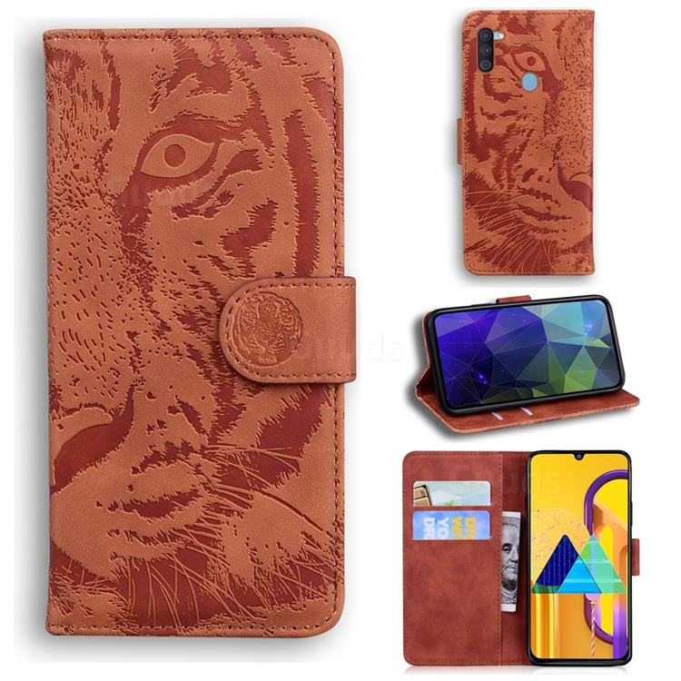 Intricate Embossing Tiger Face Leather Wallet Case for Samsung Galaxy M11 - Brown