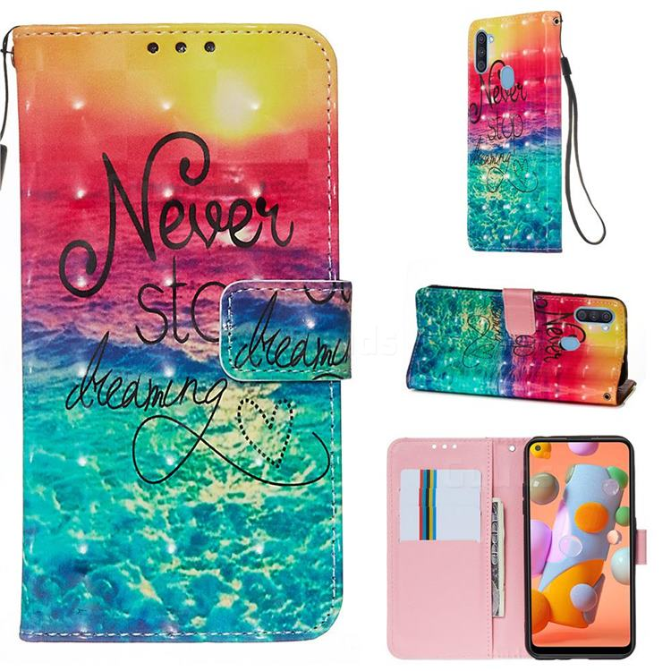 Colorful Dream Catcher 3D Painted Leather Wallet Case for Samsung Galaxy M11
