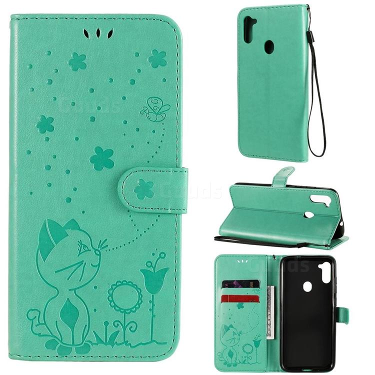 Embossing Bee and Cat Leather Wallet Case for Samsung Galaxy M11 - Green