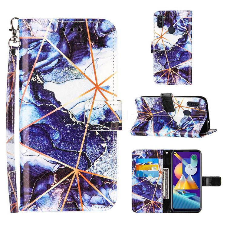 Starry Blue Stitching Color Marble Leather Wallet Case for Samsung Galaxy M11