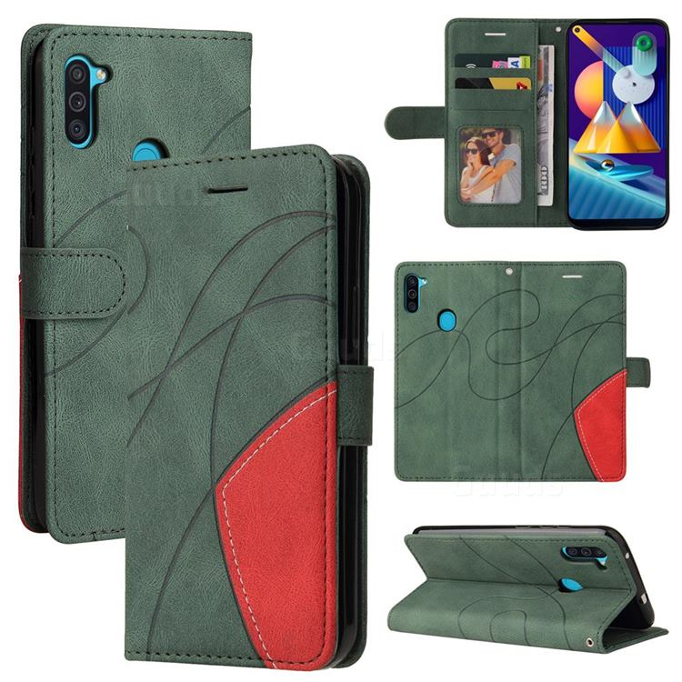 Luxury Two-color Stitching Leather Wallet Case Cover for Samsung Galaxy M11 - Green