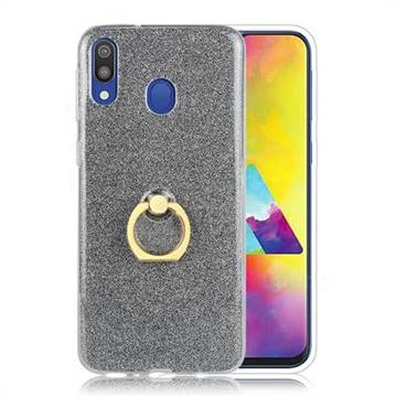 Luxury Soft TPU Glitter Back Ring Cover with 360 Rotate Finger Holder Buckle for Samsung Galaxy M20 - Black
