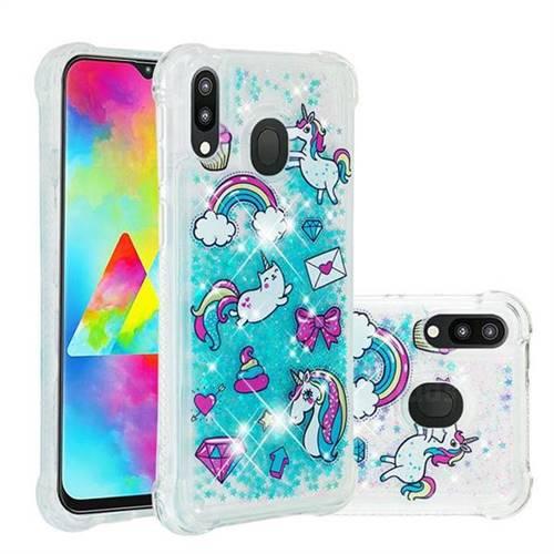 Fashion Unicorn Dynamic Liquid Glitter Sand Quicksand Star TPU Case for Samsung Galaxy M20