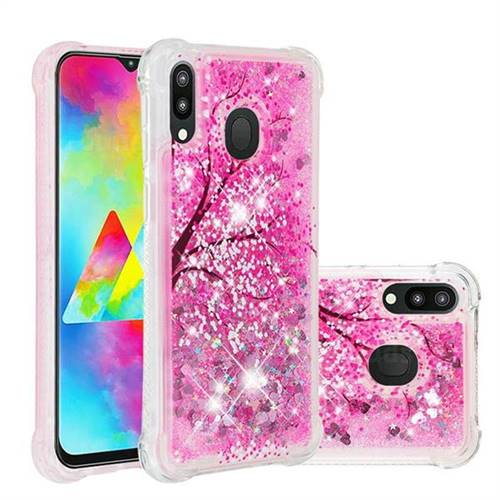 Pink Cherry Blossom Dynamic Liquid Glitter Sand Quicksand Star TPU Case for Samsung Galaxy M20