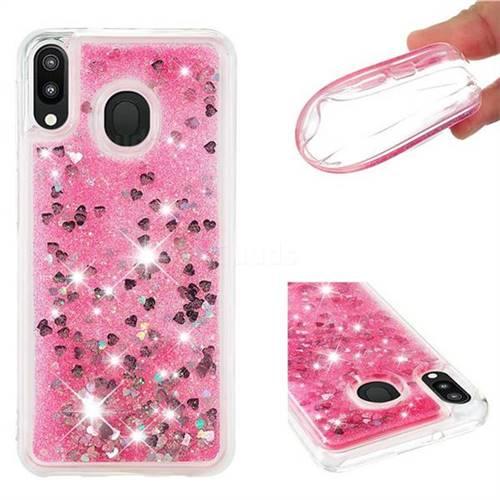 Dynamic Liquid Glitter Quicksand Sequins TPU Phone Case for Samsung Galaxy M20 - Rose