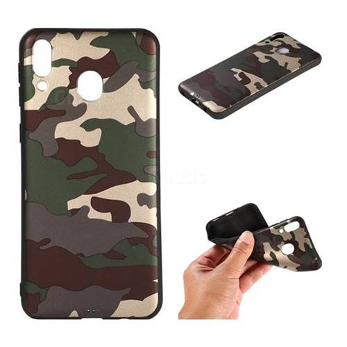 Camouflage Soft TPU Back Cover for Samsung Galaxy M20 - Gold Green