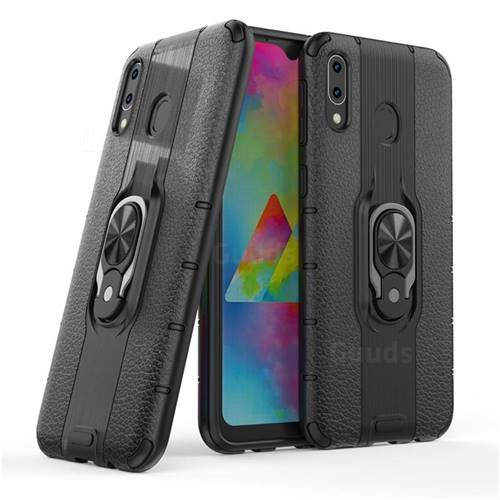 Alita Battle Angel Armor Metal Ring Grip Shockproof Dual Layer Rugged Hard Cover for Samsung Galaxy M20 - Black