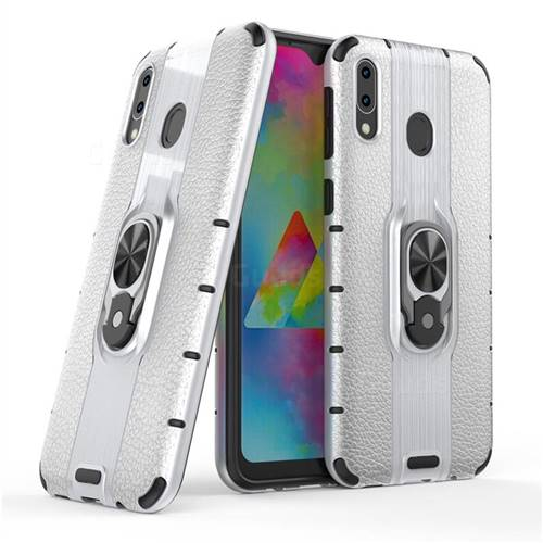 Alita Battle Angel Armor Metal Ring Grip Shockproof Dual Layer Rugged Hard Cover for Samsung Galaxy M20 - Silver