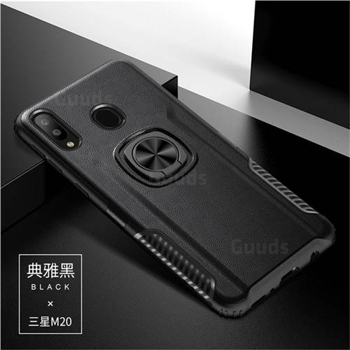 Knight Armor Anti Drop PC + Silicone Invisible Ring Holder Phone Cover for Samsung Galaxy M20 - Black