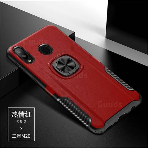 Knight Armor Anti Drop PC + Silicone Invisible Ring Holder Phone Cover for Samsung Galaxy M20 - Red