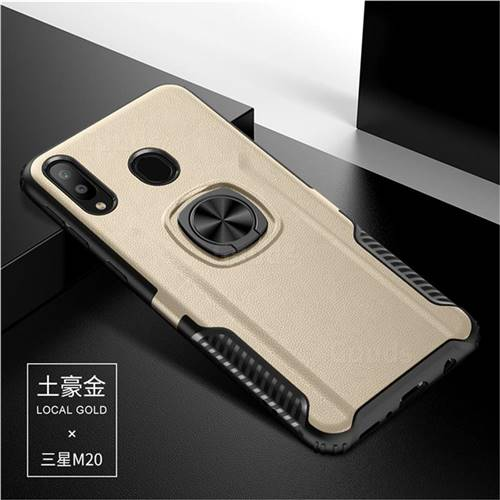 Knight Armor Anti Drop PC + Silicone Invisible Ring Holder Phone Cover for Samsung Galaxy M20 - Champagne