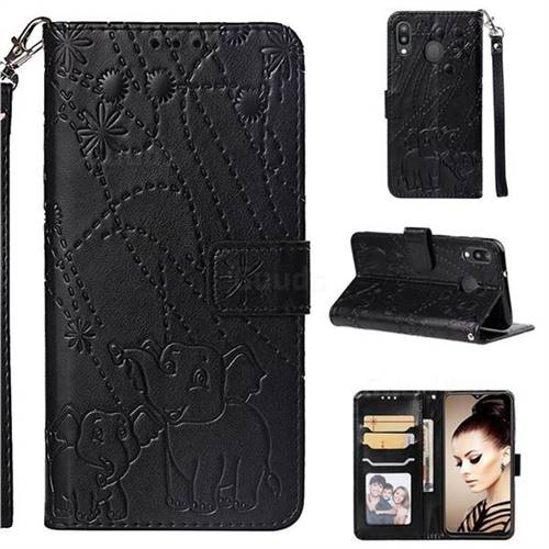 Embossing Fireworks Elephant Leather Wallet Case for Samsung Galaxy M20 - Black
