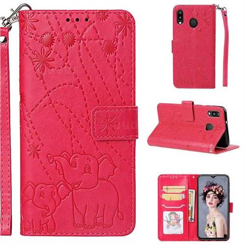 Embossing Fireworks Elephant Leather Wallet Case for Samsung Galaxy M20 - Red