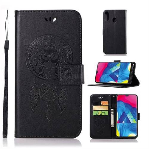 Intricate Embossing Owl Campanula Leather Wallet Case for Samsung Galaxy M20 - Black