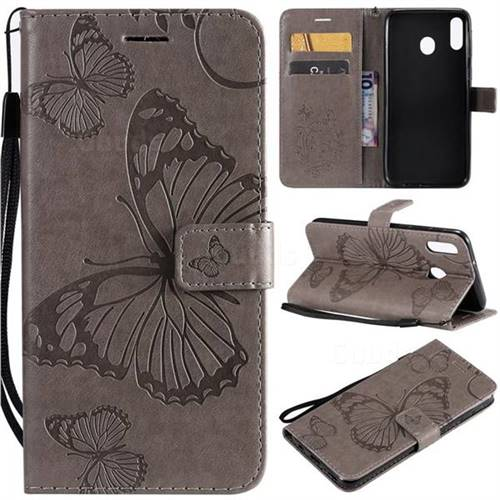 Embossing 3D Butterfly Leather Wallet Case for Samsung Galaxy M20 - Gray