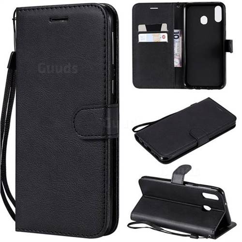 Retro Greek Classic Smooth PU Leather Wallet Phone Case for Samsung Galaxy M20 - Black