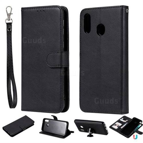 Retro Greek Detachable Magnetic PU Leather Wallet Phone Case for Samsung Galaxy M20 - Black