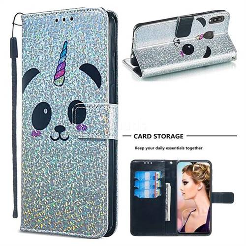 Panda Unicorn Sequins Painted Leather Wallet Case for Samsung Galaxy M20