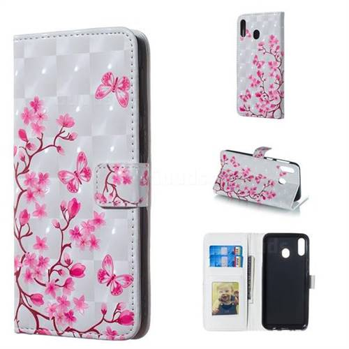 Butterfly Sakura Flower 3D Painted Leather Phone Wallet Case for Samsung Galaxy M20