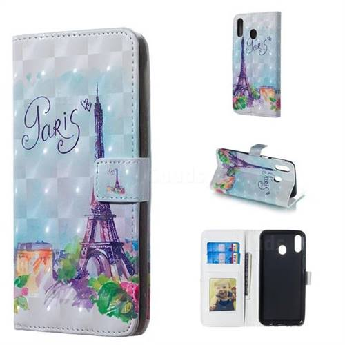 Paris Tower 3D Painted Leather Phone Wallet Case for Samsung Galaxy M20