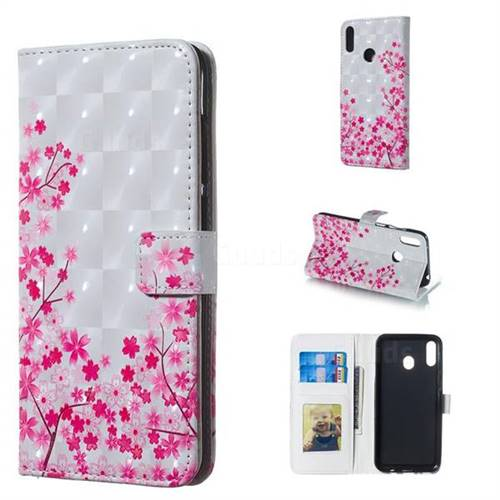 Cherry Blossom 3D Painted Leather Phone Wallet Case for Samsung Galaxy M20