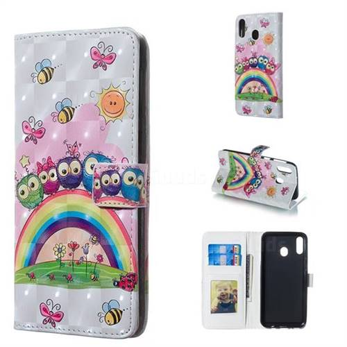 Rainbow Owl Family 3D Painted Leather Phone Wallet Case for Samsung Galaxy M20