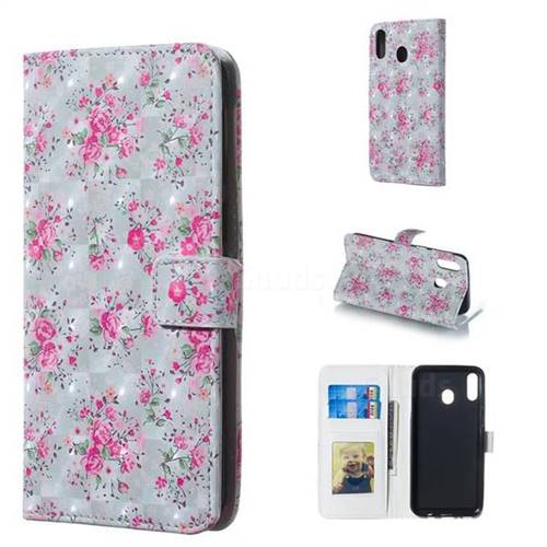 Roses Flower 3D Painted Leather Phone Wallet Case for Samsung Galaxy M20